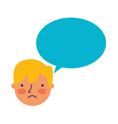 boy face sad speech bubble vector image