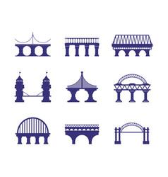 bridge architecture urban silhouette arch cable vector image