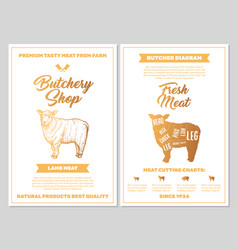 Butchery shop poster with lamb meat cutting charts vector