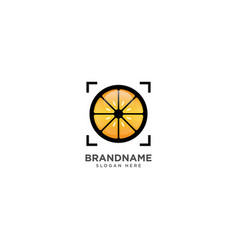 Camera fruit logo design fruit and photography vector