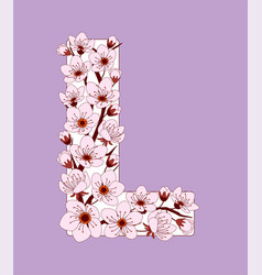 Capital letter l patterned with cherry blossom vector