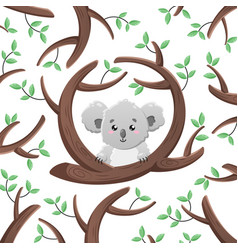 Cartoon koala among the leaves and branches vector