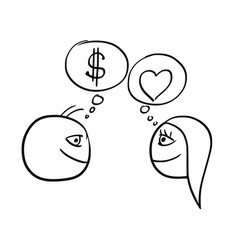 cartoon of man and woman thinking difference vector image