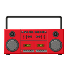 cassette recorder red machine for recording and vector image