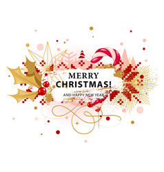 christmas card with holly and candy cane vector image