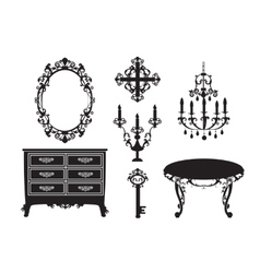 collection of furniture in the Baroque style vector image