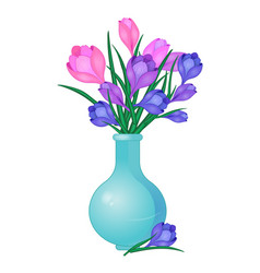 Crocuses flowers in vase-01 vector