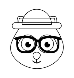 Cute dog character hipster style vector