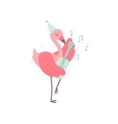 cute flamingo wearing party hat playing guitar vector image