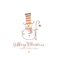 Cute snowman with cylinderand crook on white vector