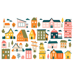 cute tiny houses cartoon small town houses vector image
