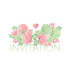 decorative tender rose flower motif vector image