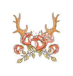Deer horns with red roses hand drawn floral vector