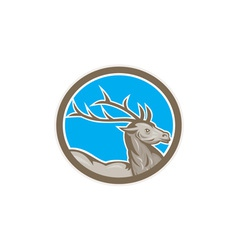 Deer Stag Buck Head Circle Retro vector