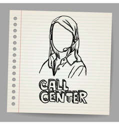 Doodle girl call center operator vector