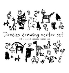 Doodles drawing set isolated objects black and vector