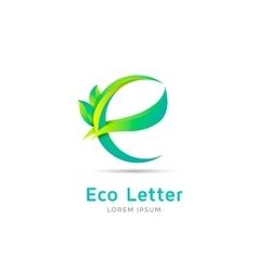 E letter eco logo vector image