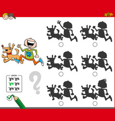 Educational shadow game with boy and dog vector