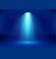Empty blue studio and spotlight bright shiny rays vector
