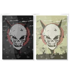 evil skull set terrible gothic poster the banner vector image