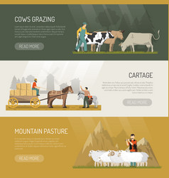 Farm animals pasture banners vector
