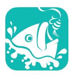 fishing logo fish and hook logo template flat vector image