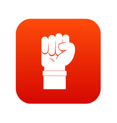 fist icon digital red vector image