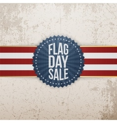 Flag Day Sale Badge with Ribbon and Shadow vector image