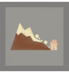 Flat shading style icon House avalanche vector