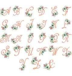 Floral Monogram Flowers Alphabet Floral Alphabet vector