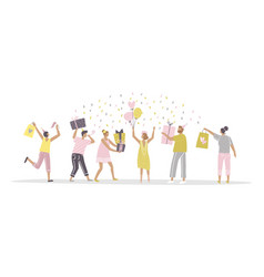 friends congratulate young woman with a birthday vector image