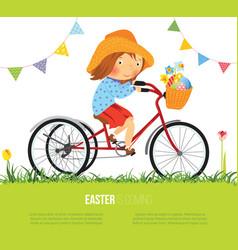 girl on bike with basket full of eggs for easter vector image