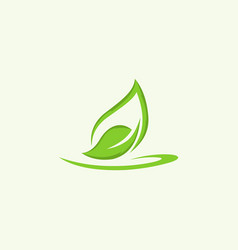 green leaf pure naturally creative business logo vector image