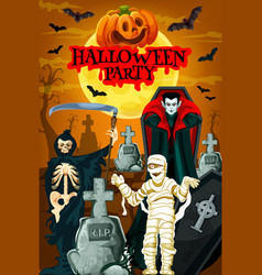 Halloween night party banner with horror cemetery vector