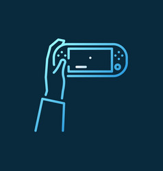 hand holding handheld game console colored vector image