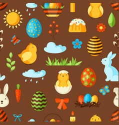 happy easter seamless pattern with holiday items vector image
