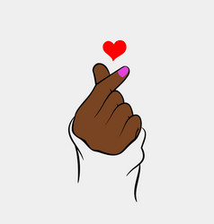 Heart finger with black hand vector