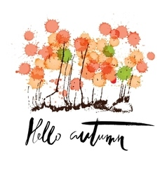 Hello autumn Hand drawn lettering on abstract vector image
