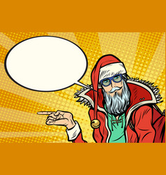 hipster santa claus shows sideways and says comic vector image
