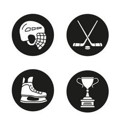 hockey equipment icons set vector image
