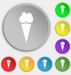 Ice Cream icon sign Symbol on eight flat buttons vector image