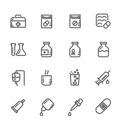 icons set of pills line icons vector image