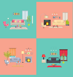 interior of house collection vector image