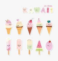 Kawaii ice cream set sweets isolated on white vector