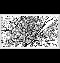 Limoges france city map in black and white color vector