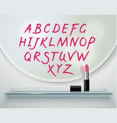 Lipstick alfabet shelf mirror realistic vector