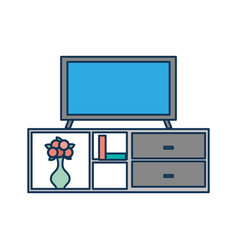 Living room interior tv on stand library wooden vector