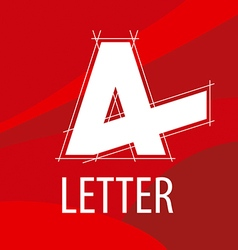 Logo letter A in the drawing to form a red vector