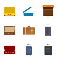 luggage bag icon set flat style vector image