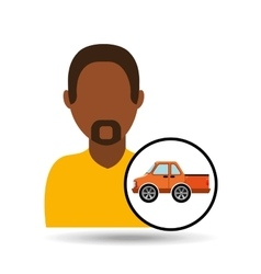 Man bearded character vehicle transport vector